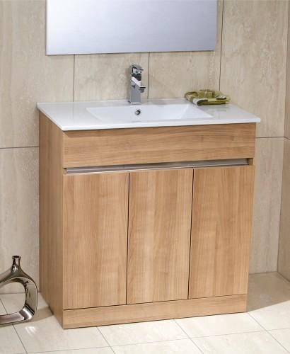 Attica Oak 80cm Vanity Unit & Basin - Totano