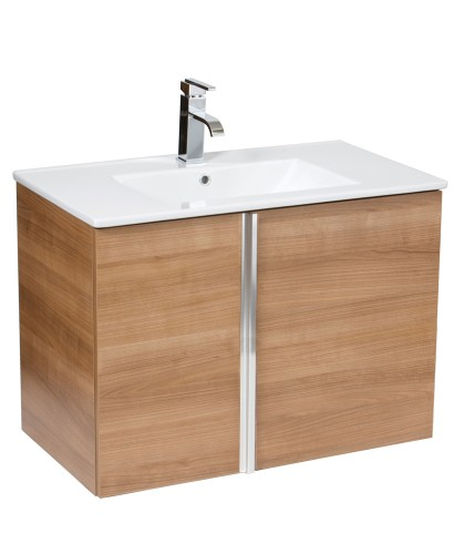 Athena Walnut 80cm Wall Hung Vanity Unit 2 Door & Basin