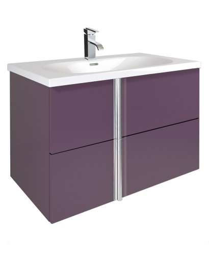 Athena Aubergine 80cm Vanity Unit 2 Drawer and Aida Basin