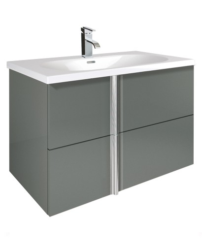 Athena Gloss Grey 80cm Vanity Unit 2 Drawer and Aida Basin