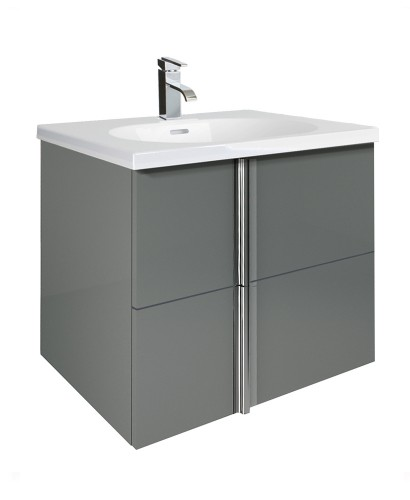 Athena Gloss Grey 60cm Vanity Unit 2 Drawer and Aida Basin