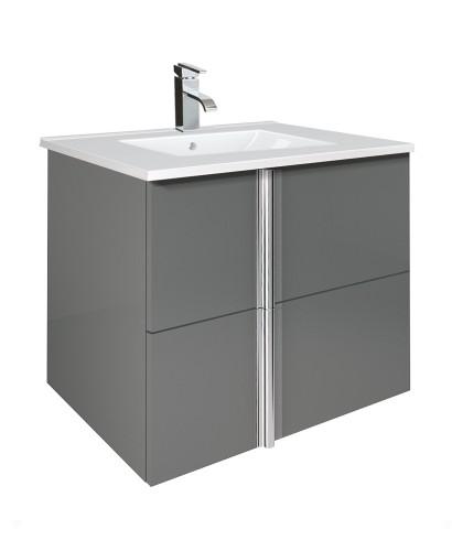 Athena Gloss Grey 60cm Vanity Unit 2 Drawer and Basin
