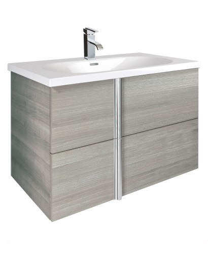 Athena Sandy Grey 2 Drawer 80cm Wall Hung Vanity Unit and Aida Basin