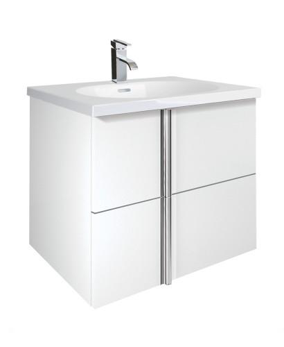 Athena White 2 Drawer 60cm Wall Hung Vanity Unit and Aida Basin