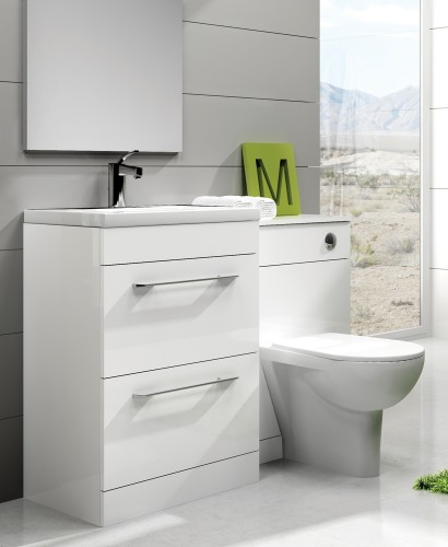 Carla White Slimline 60cm Combination Unit - 2 Drawer - 1215mm - with Toilet