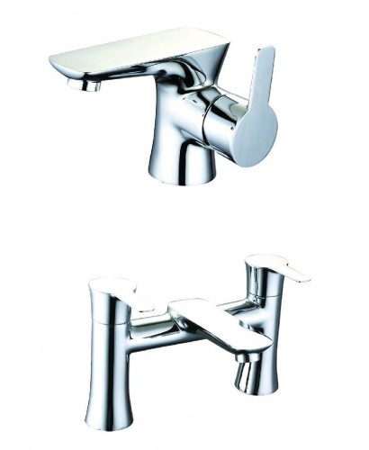 Cheshire Basin Mixer and Bath Filler Set with FREE Click Clack Waste