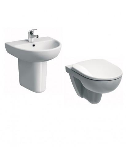 Twyford E100 Wall Hung Round Toilet and Wash Basin Set