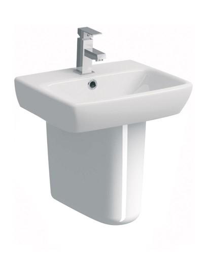 Twyford E100 Square 450 Basin & Semi Pedestal