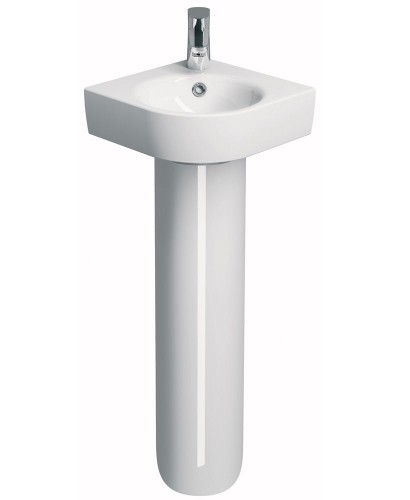 Corner Basin With Pedestal : Twyford E200 320 Corner Handrinse Basin & Pedestal