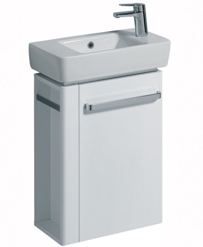 Twyford E200 500 White Vanity Unit Wall Hung RH Tap with Left Towel Rail