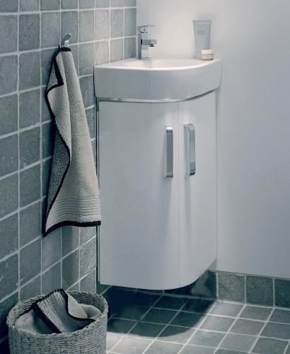 Twyford E200 320 White Corner Vanity Unit Wall Hung