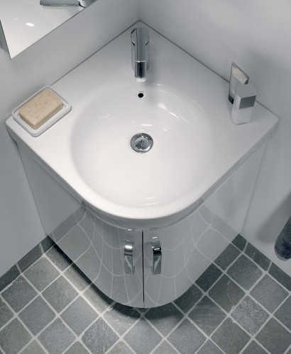 E200 500 White Corner Vanity Unit Floor Standing