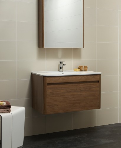 Elora 80cm Walnut Vanity Unit and Basin