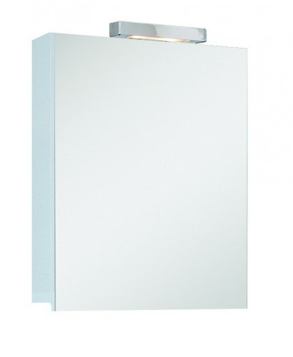 Hampstead 1 Door Mirror Cabinet 40cm White with Light Fitting