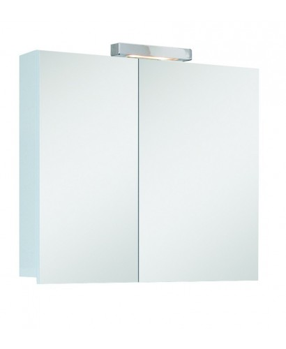 Hampstead 2 Door Mirror Cabinet 70cm White with Light Fitting