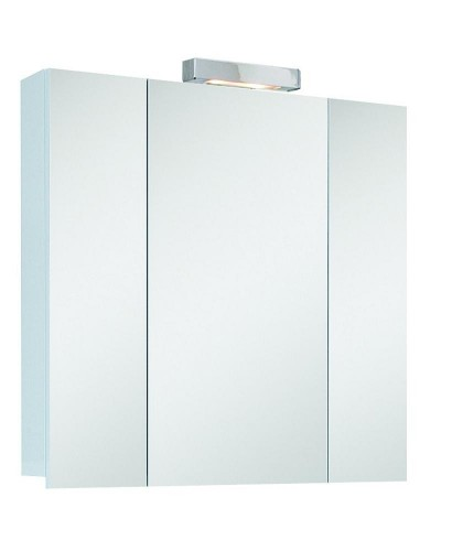 Hampstead 3 Door Mirror Cabinet 80cm White with Light Fitting