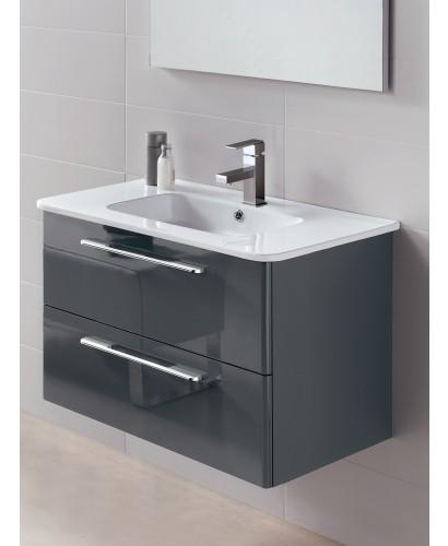 Ramia Gloss Grey 80cm Vanity Unit 2 Drawer and Basin