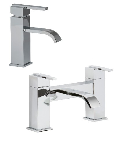 Polly Basin Mixer Tap and Bath Filler Set with FREE Click Clack Basin Waste