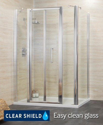 Rival 1400 Bifold Shower Enclosure with Two Infill Panels and Side Panel