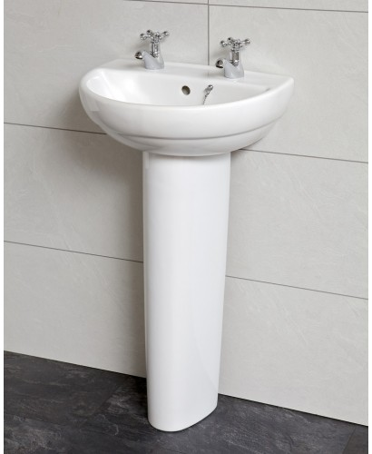 Twyford Refresh Cloakroom Basin 45cm & Pedestal (2TH) - REDUCED TO CLEAR
