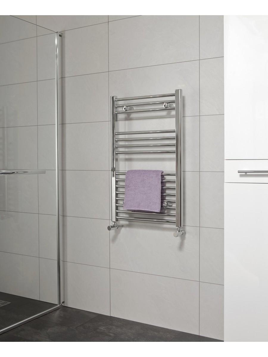 Straight 800x500 Heated Towel Rail Chrome