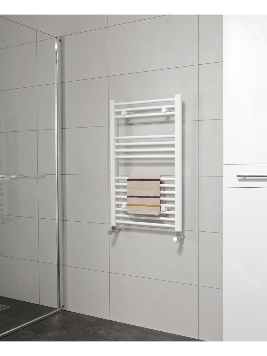 Straight 800x600 Heated Towel Rail White