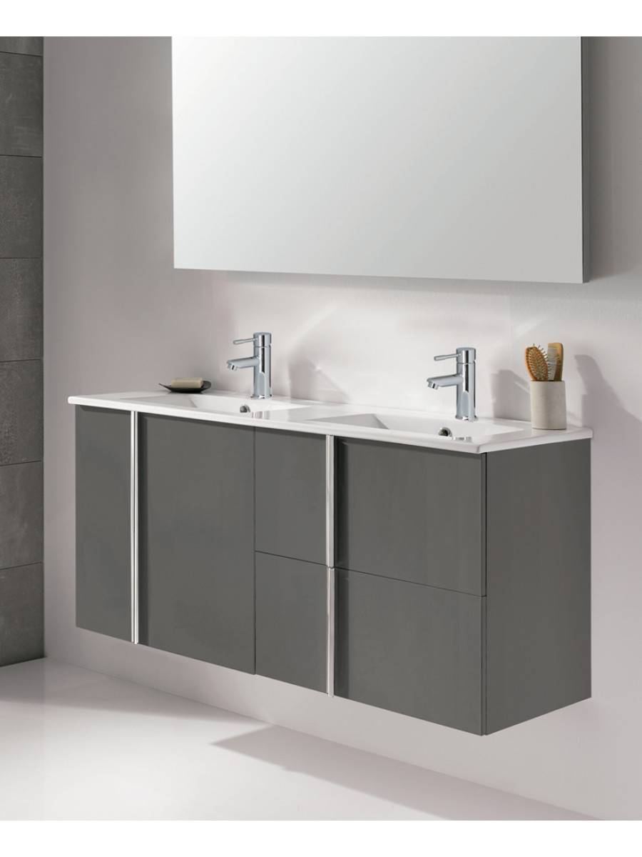 Athena Gloss Grey 120cm Double Vanity Unit 2 Door 2 Drawer & Basin