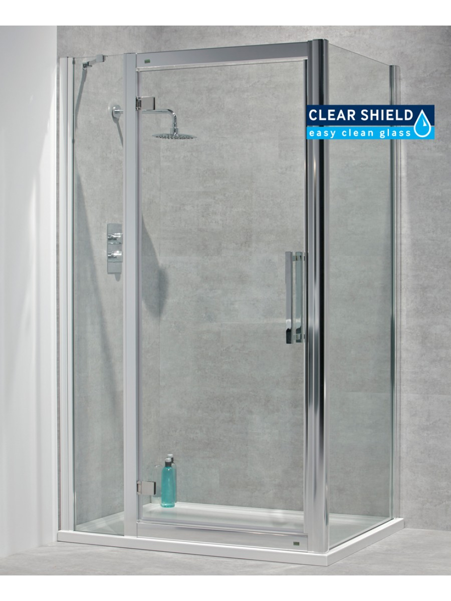 Avante 8mm 1500 x 900 hinged shower door with double for 1200 hinged shower door