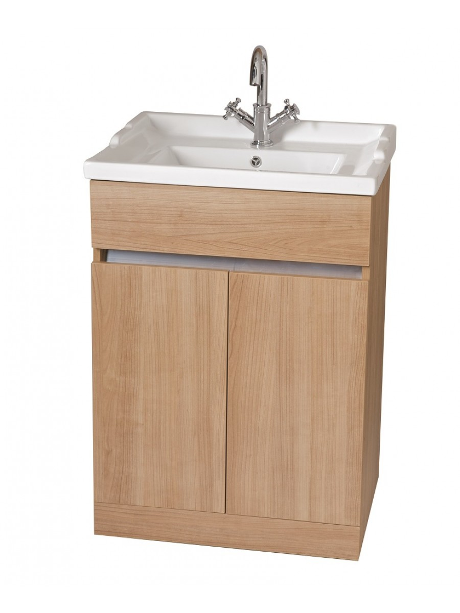 Attica Oak 60cm Vanity Unit & Vitaria Washbasin