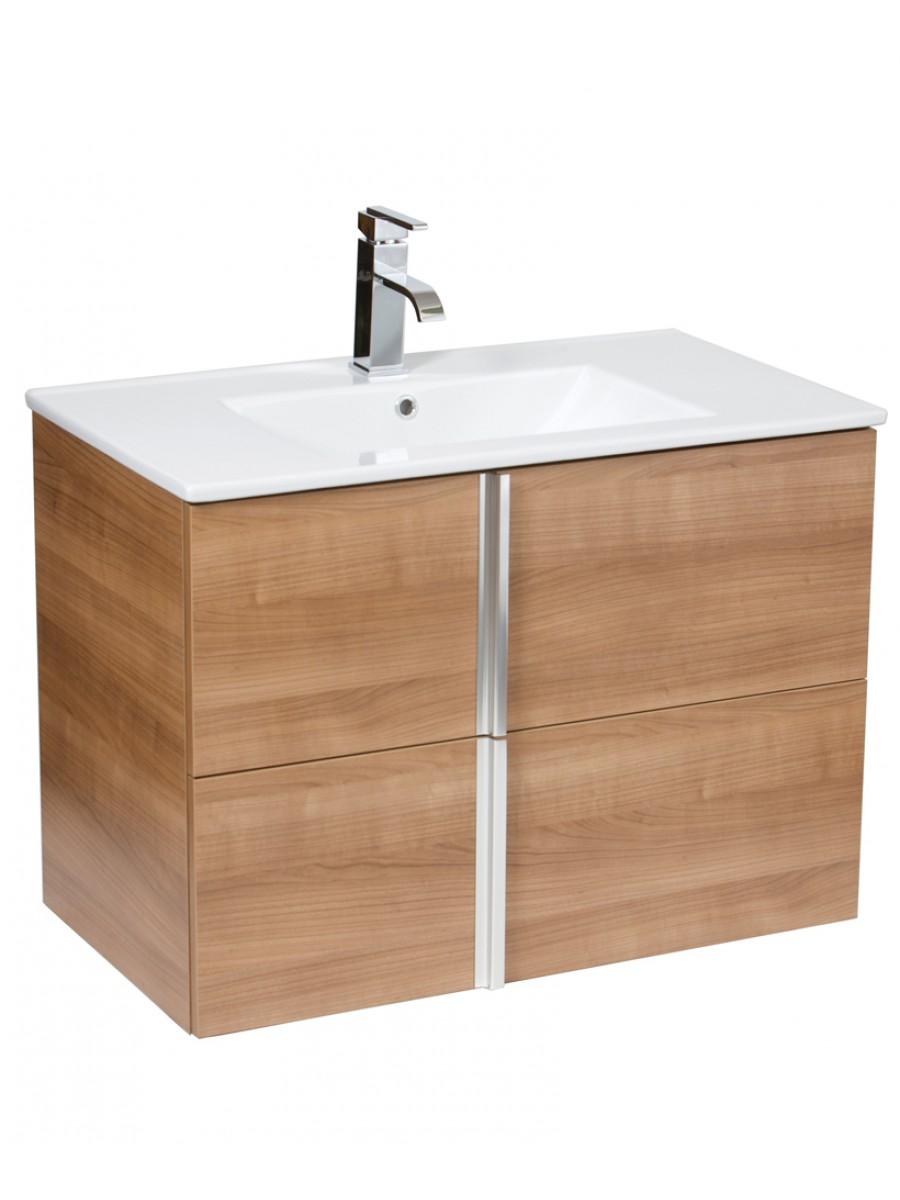 Athena Walnut 80cm Wall Hung Vanity Unit 2 Drawer & Basin