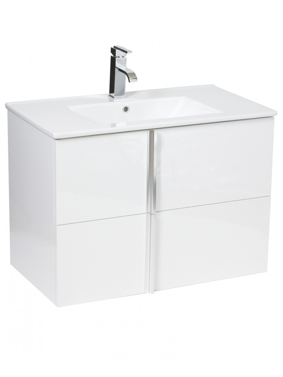 Athena White 80cm Wall Hung Vanity Unit 2 Drawer & Basin