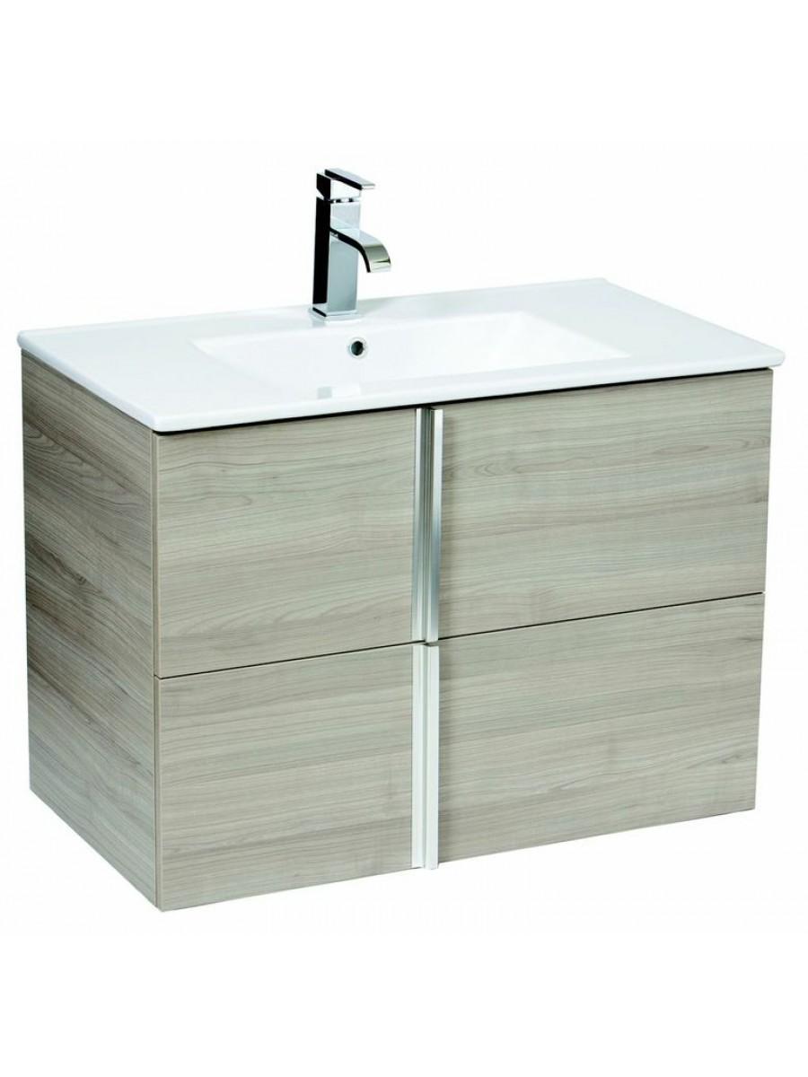 Athena Sandy Grey 80cm Wall Hung Vanity Unit 2 Drawer & Basin