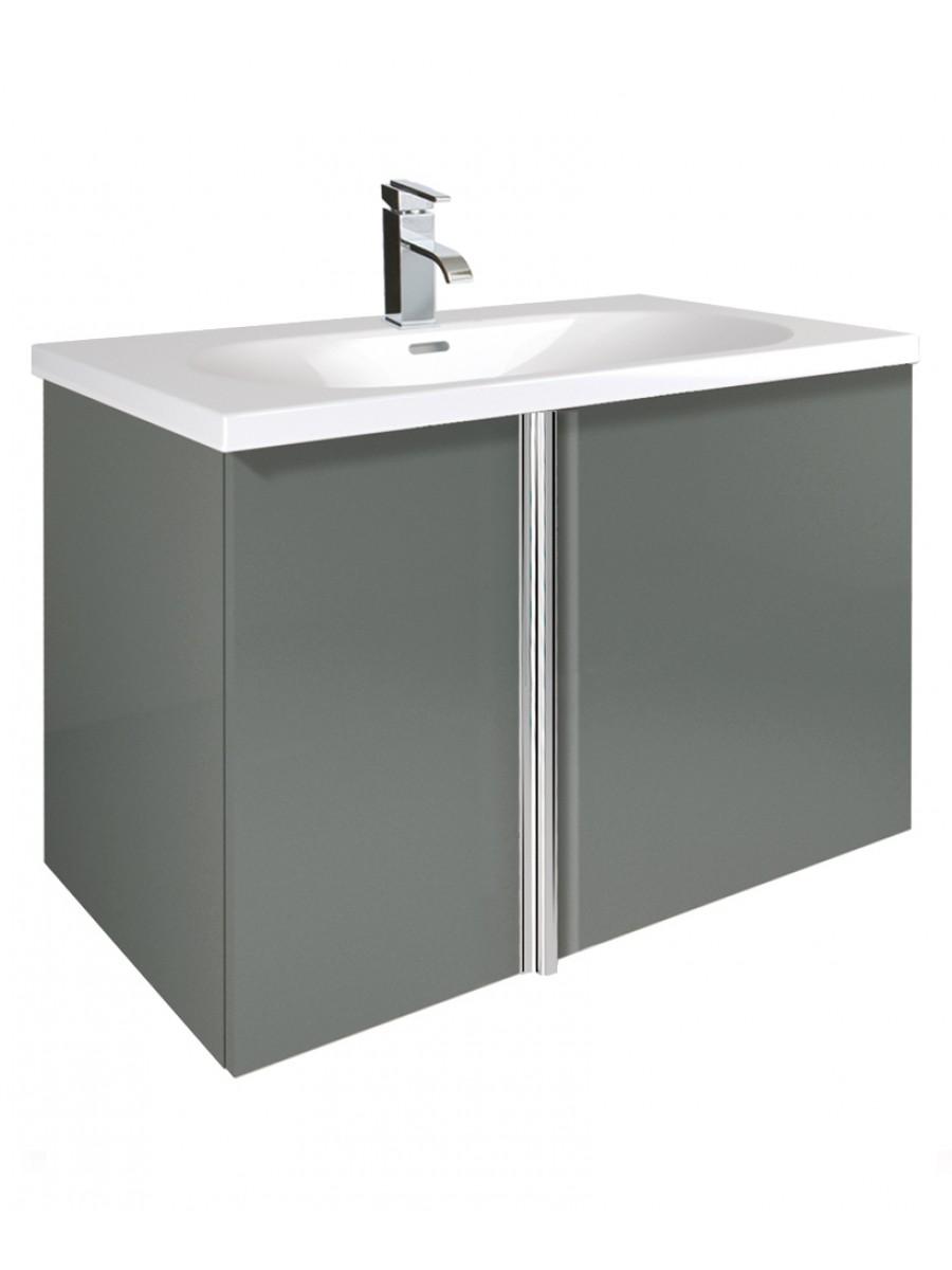 Athena Gloss Grey 80cm Vanity Unit 2 Door and Aida Basin