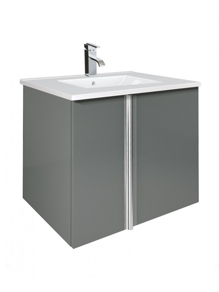 Athena Gloss Grey 60cm Vanity Unit 2 Door and Basin