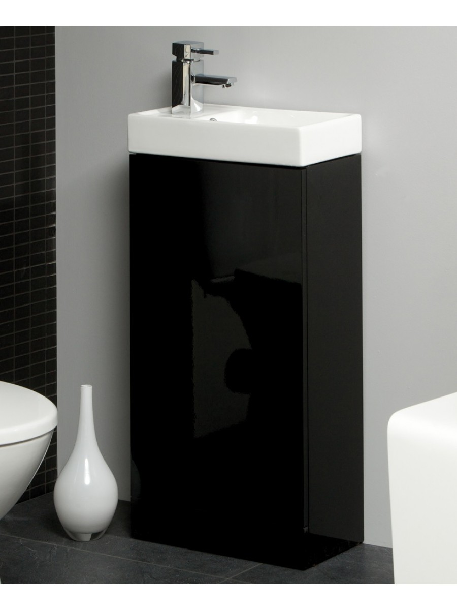 Space 40cm Black Floor Standing Unit & Cloakroom Basin - Space Saving