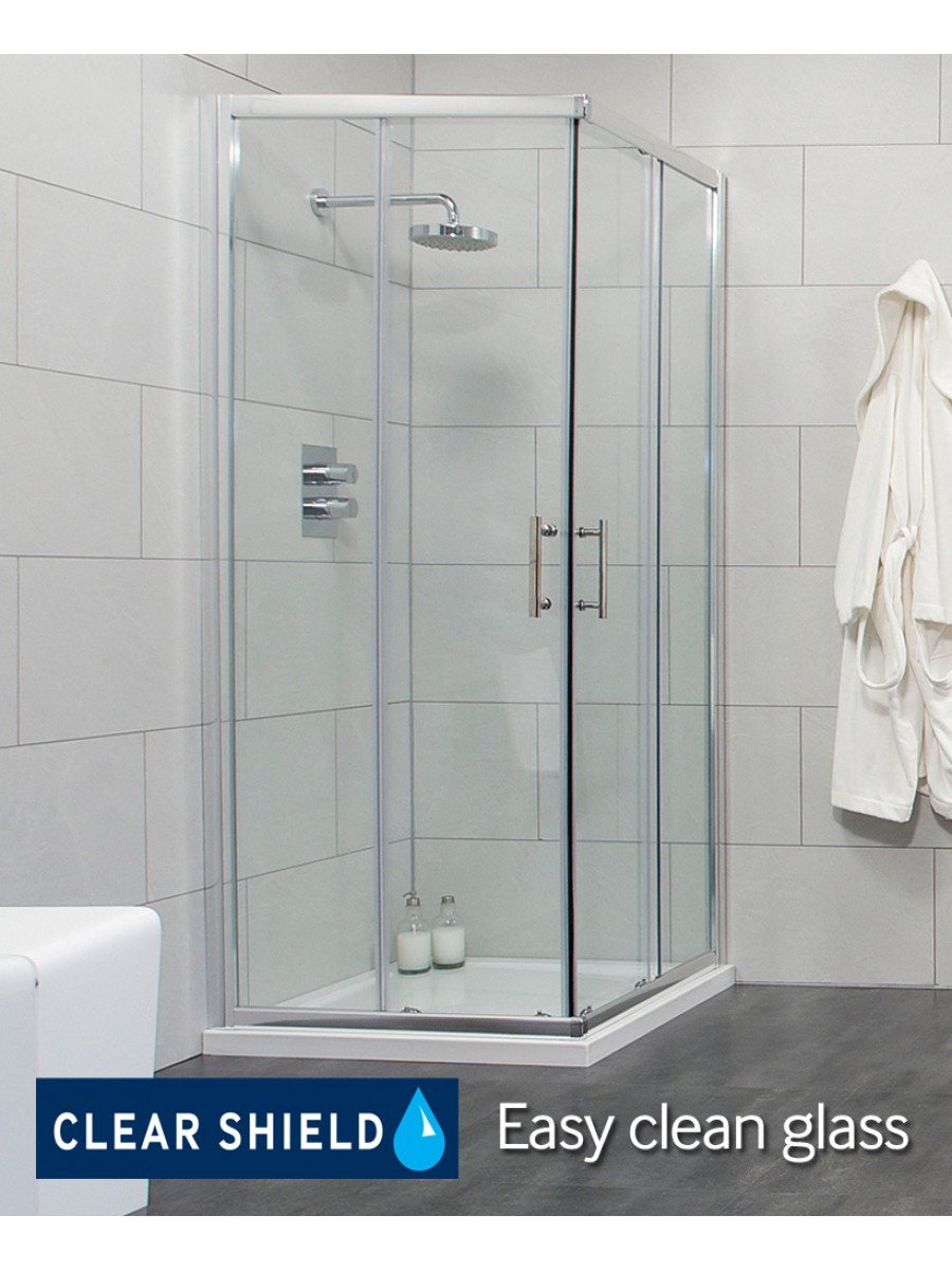 Cello 900 Corner Entry Shower Enclosure - Adjustment 865-890mm