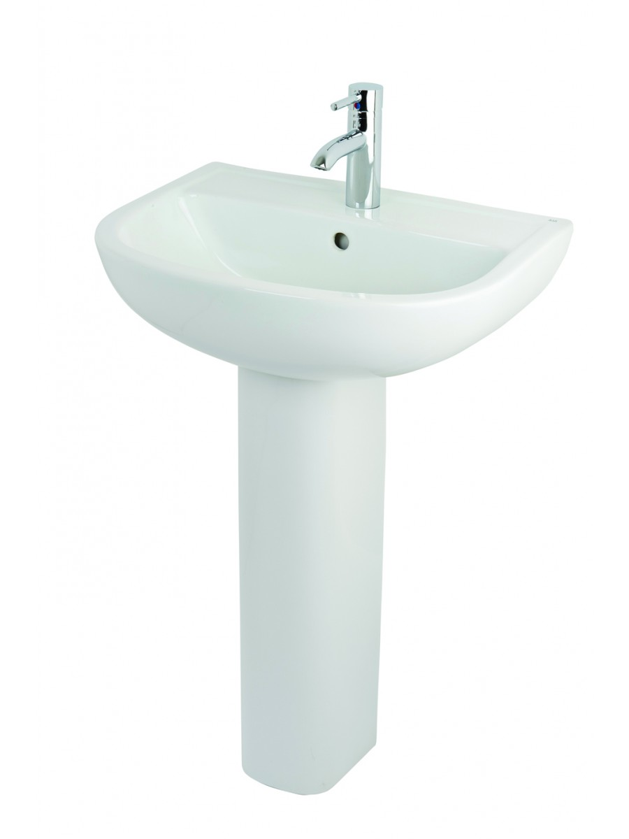 Small Basin With Pedestal : Bath and Shower 30 years in bathrooms