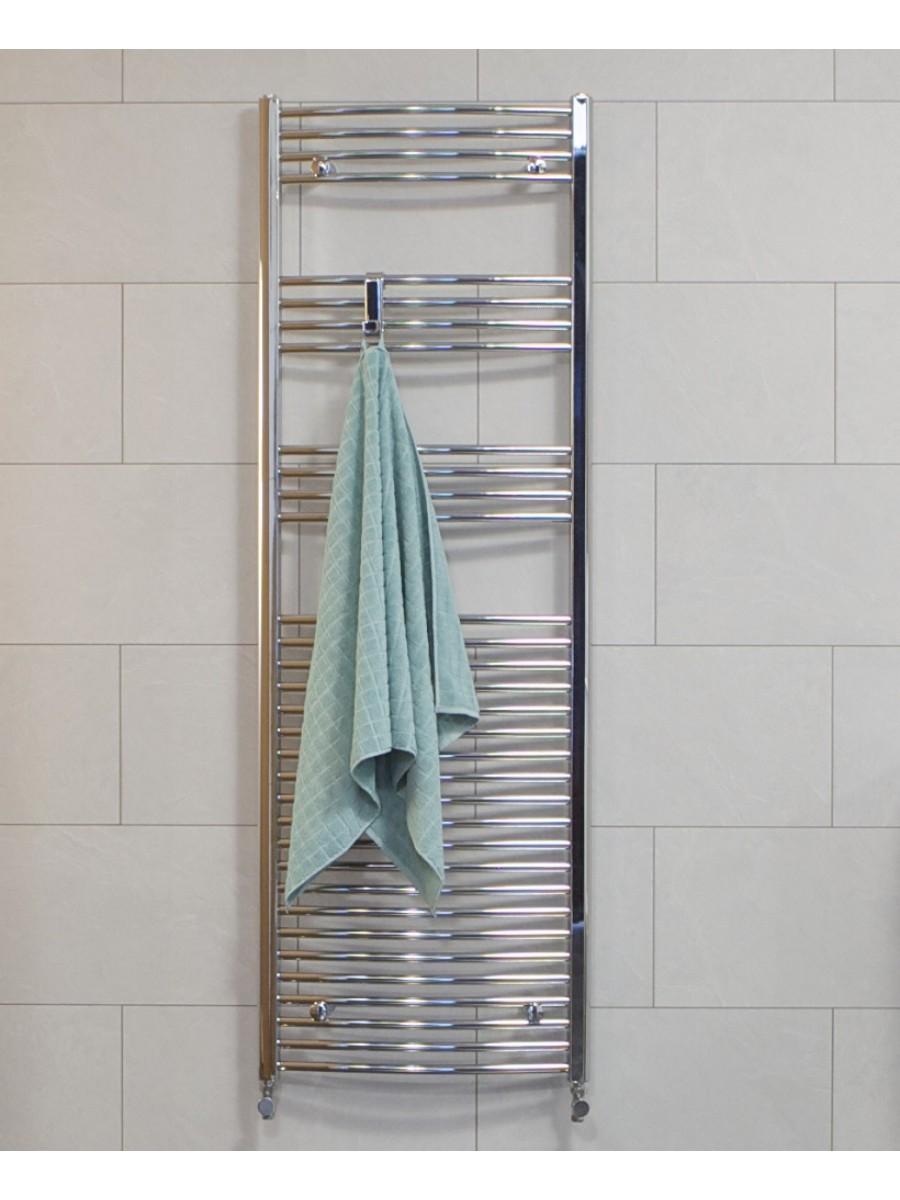 Curved 1800x500 Heated Towel Rail Chrome