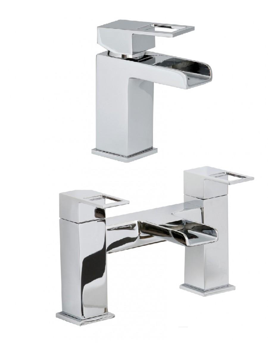 Della Basin Mixer and Bath Shower Mixer Set with  FREE Click Clack Basin Waste
