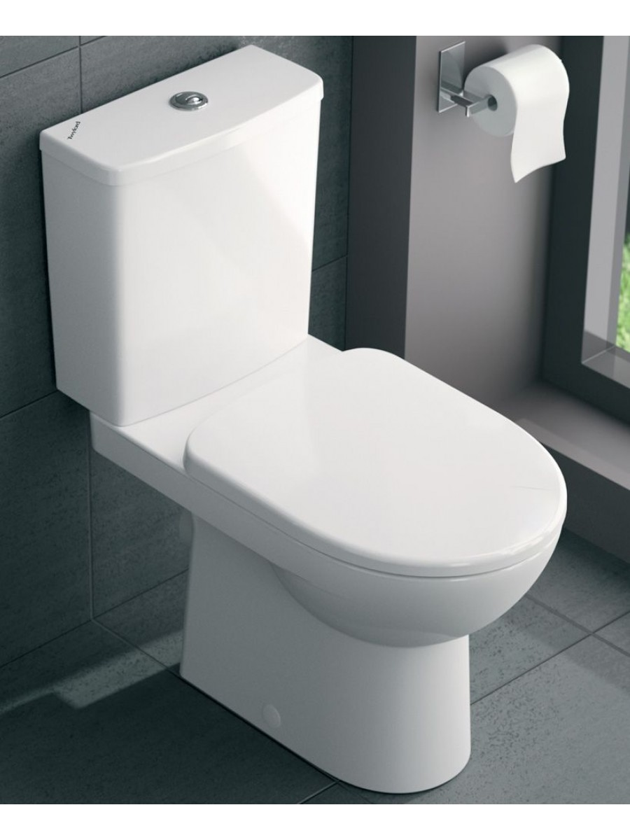 Twyford E100 Square Close Coupled Premium Toilet & Soft Close Seat