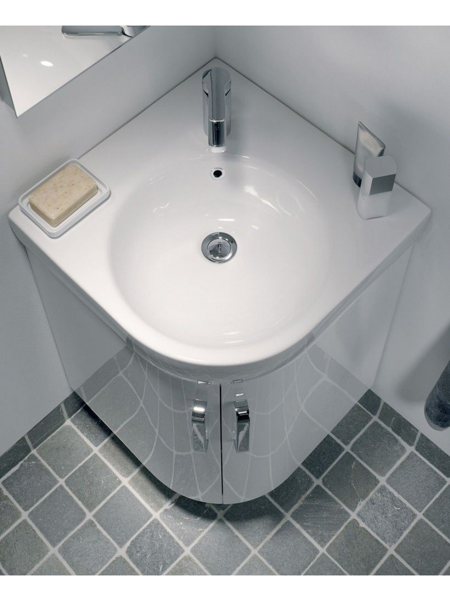 Corner Basin And Vanity Unit : Twyford E200 500 White Corner Vanity Unit and Basin - Floor Standing