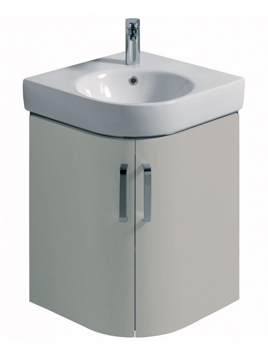 E200 500 Grey Corner Vanity Unit Wall Hung With 1th Basin
