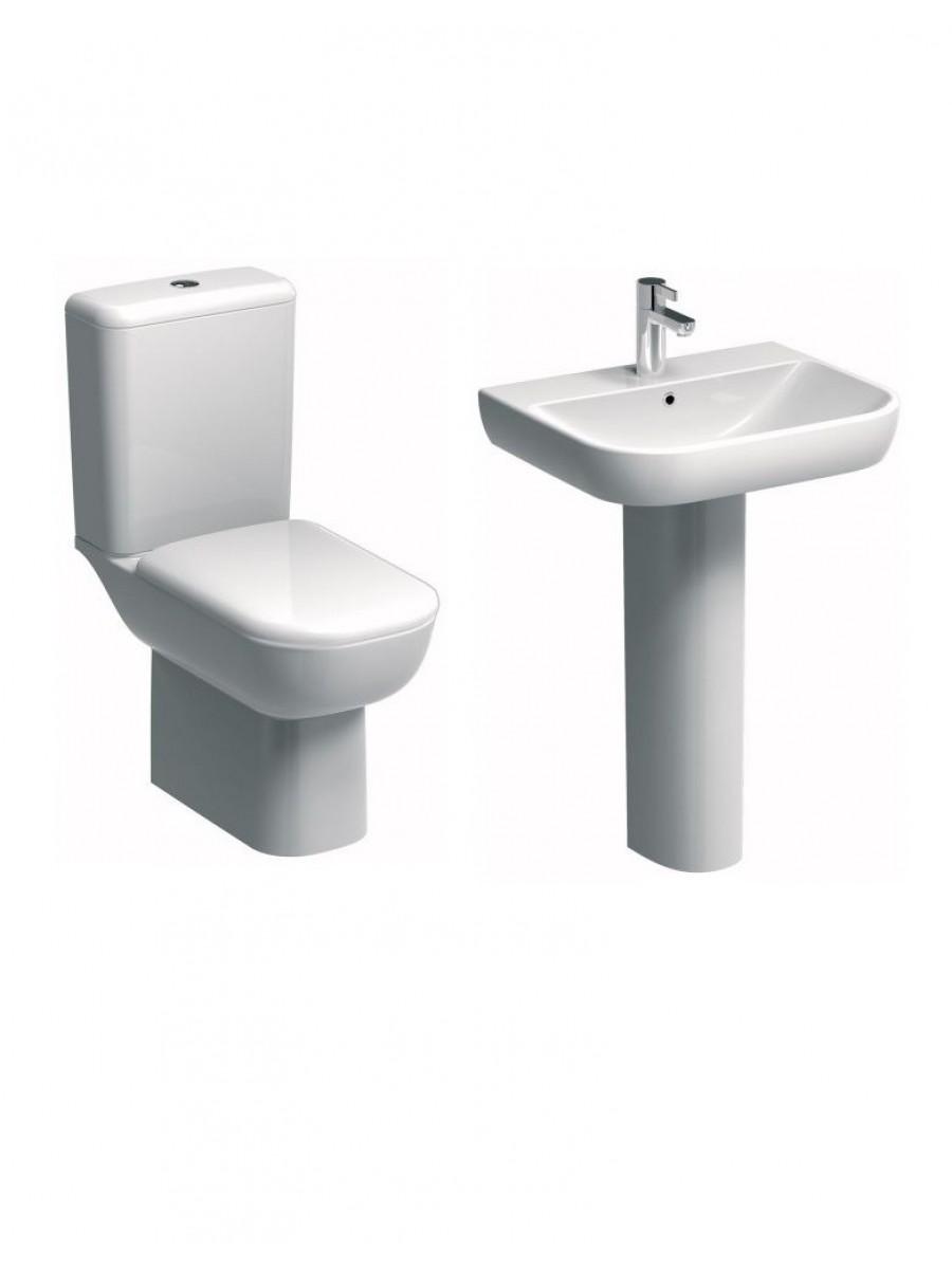 Twyford E500 Round Rimfree® Toilet and Wash Basin Set