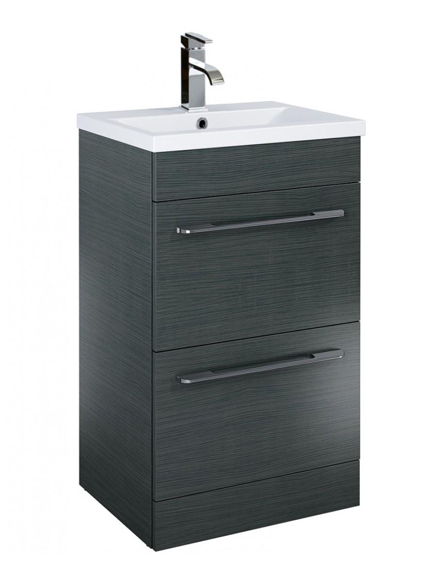 Carla 50cm Vanity Unit 2 Drawer Grey and Basin