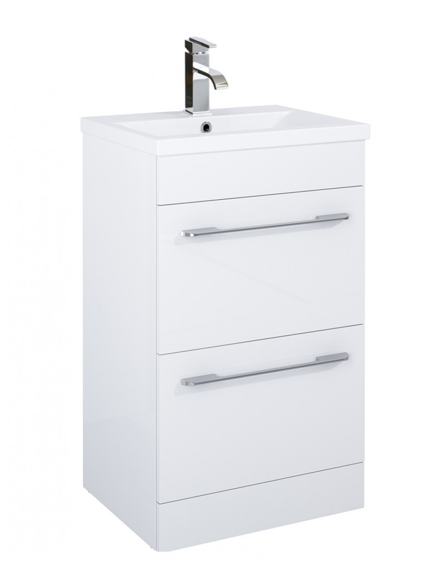 Carla 50cm Vanity Unit 2 Drawer White and Basin