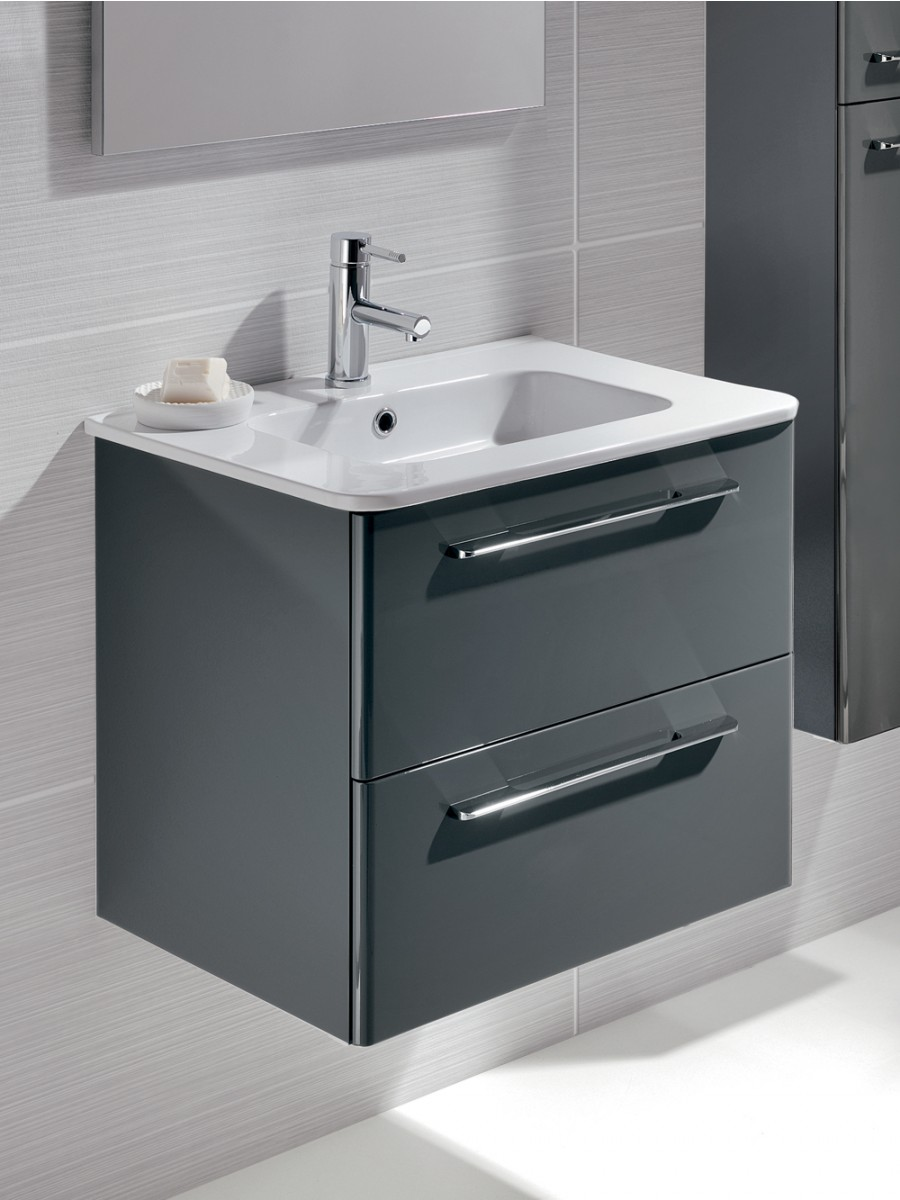 Ramia gloss grey 60cm vanity unit 2 drawer and basin for Bathroom furniture drawers