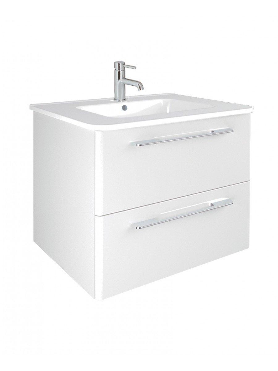 Ramia white 60cm vanity unit 2 drawer and basin wall for Bathroom e pod mara