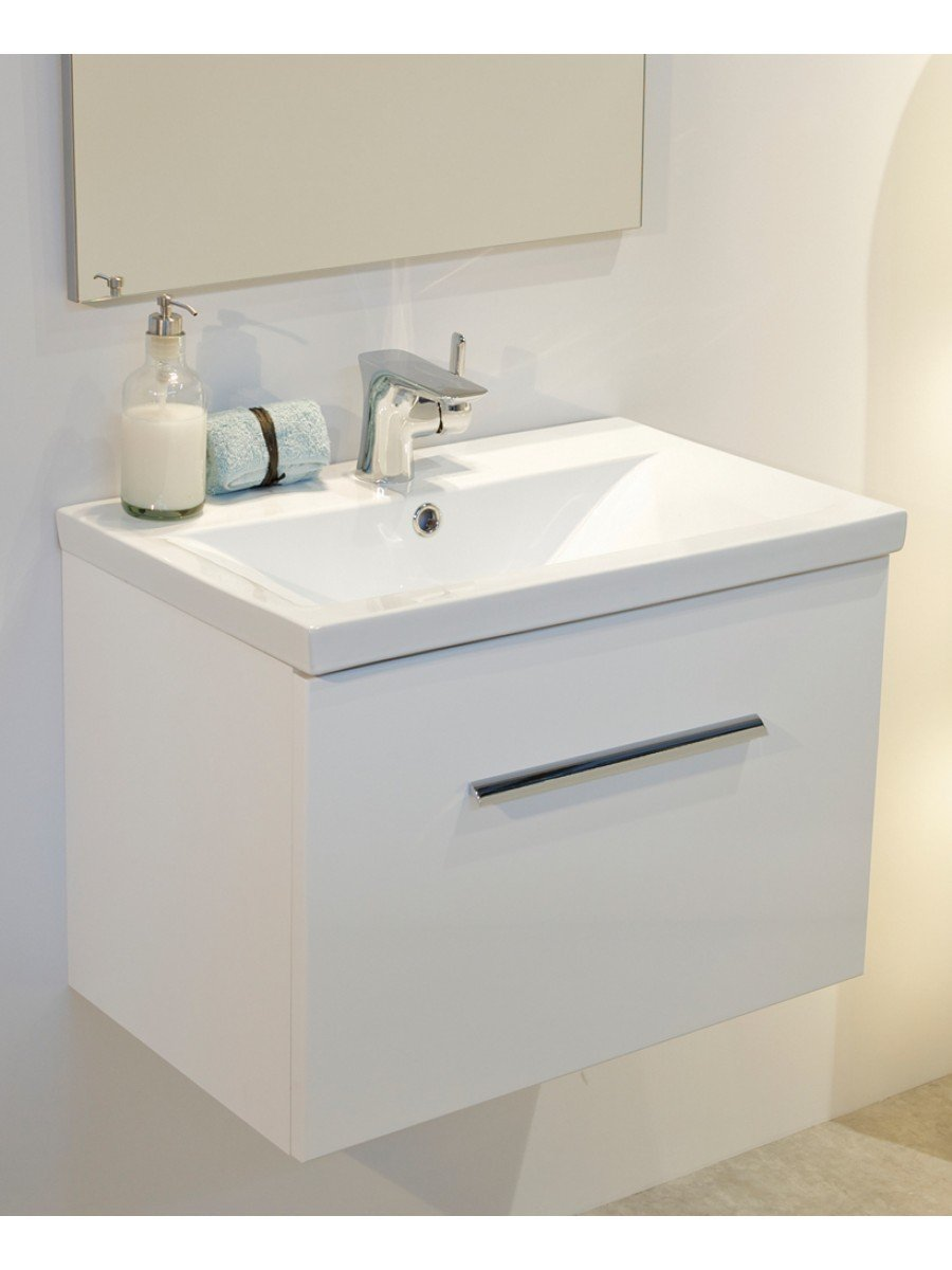 Vanore white slimline 60cm wall hung vanity unit for Slimline bathroom cabinet
