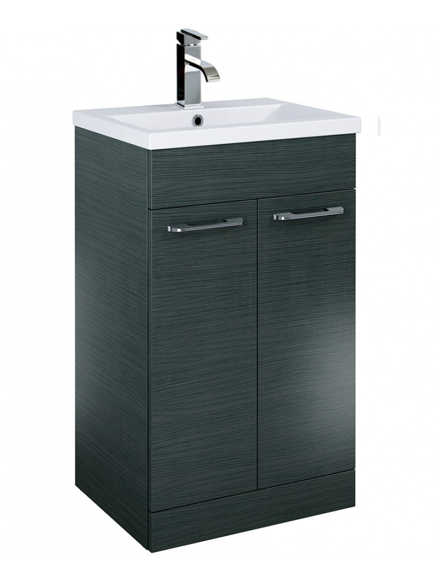 Paola 50cm Slimline Vanity Unit 2 Door Grey and Basin