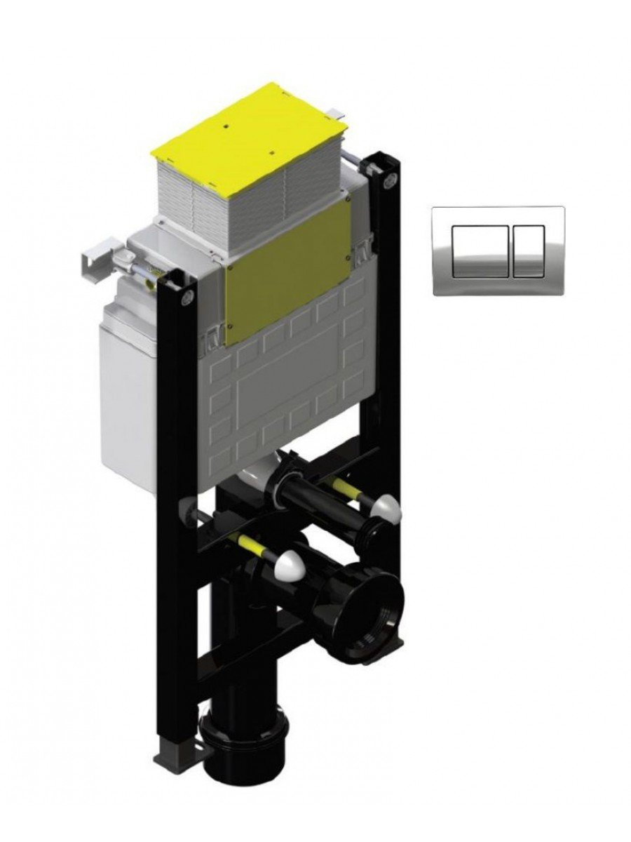 Fastfix High Frame for Wall Hung Toilet - Front & Top access -  Square Controls